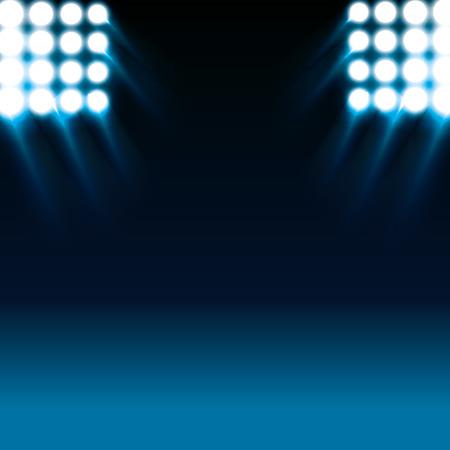 reflector: reflector white lights and blue stage background. vector illustration Illustration