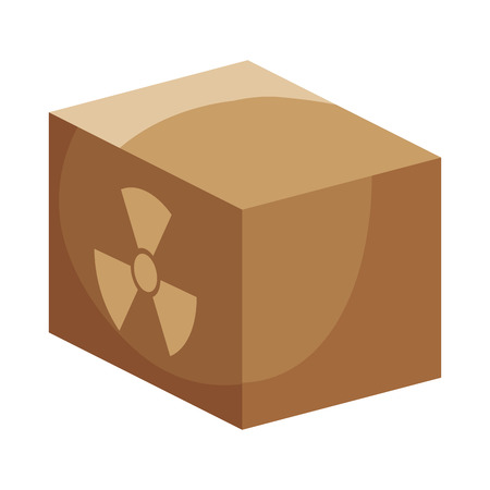 nuclear sign: box carton with nuclear sign. packing delivery and shipping service. vector illustration