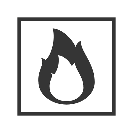 flammable warning: Fire warning sign in black square. Flammable, inflammable substance. vector illustration Illustration