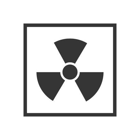 nuclear sign: radiation nuclear sign in a black square. industrial security sign Illustration