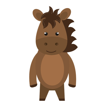 brown horse: brown horse animal character cute cartoon, vector illustration