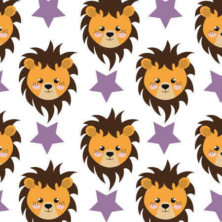 estrellas moradas: león amarillo animal carácter de dibujos animados lindo y las estrellas de fondo morado. ilustración vectorial