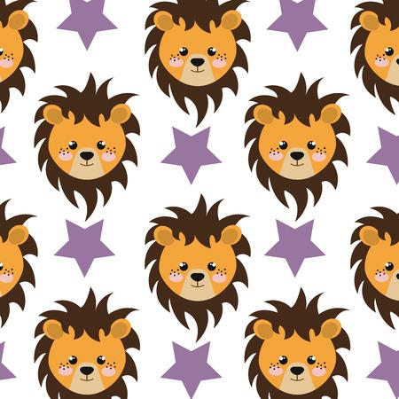 purple stars: yellow lion animal character cute cartoon and purple stars background. vector illustration Illustration
