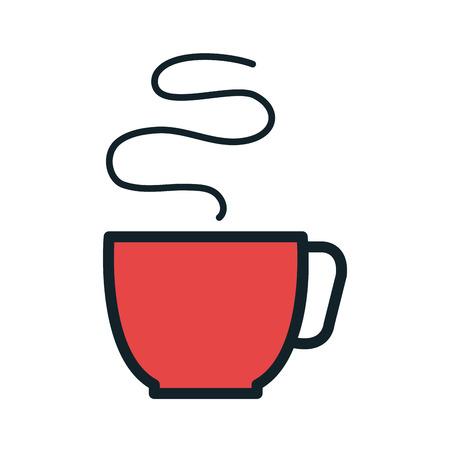 caffeine: red coffee hot mug beverage. caffeine drink. vector illustration