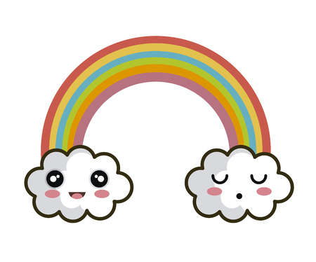 icon rainbow cloud faces design vector illustration Illustration