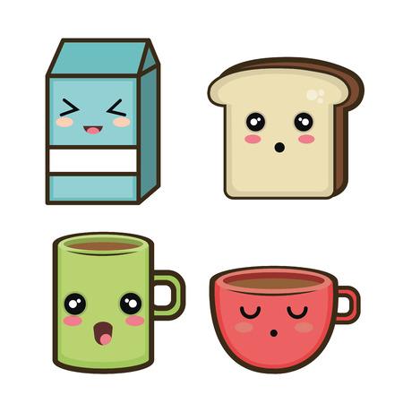 set cartoon breakfast design vector illustration