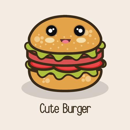 icon cartoon burger design vector illustration eps 10 Illustration