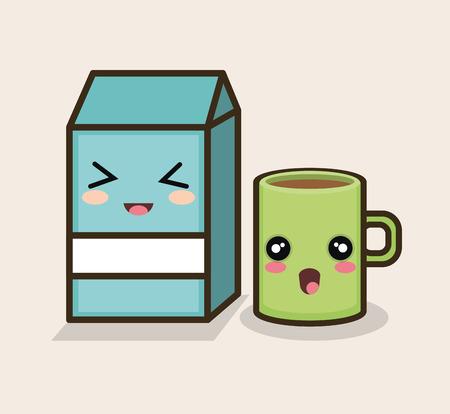 set cartoon breakfast milk mug design vector illustration