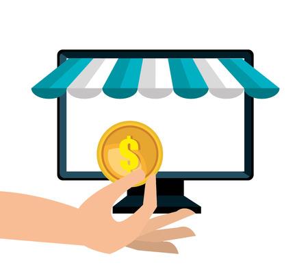 icon pc buy online design vector illustration Illustration