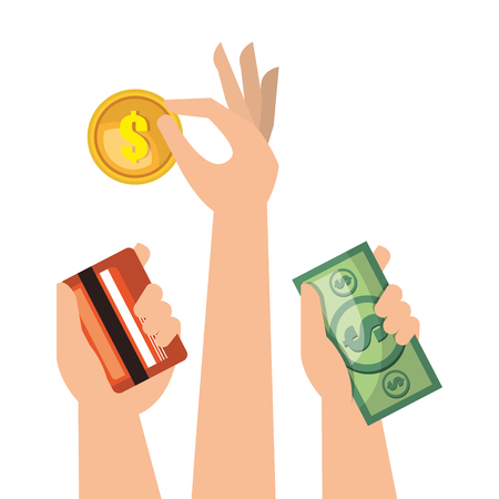 set hands money cash credit isolated vector illustration