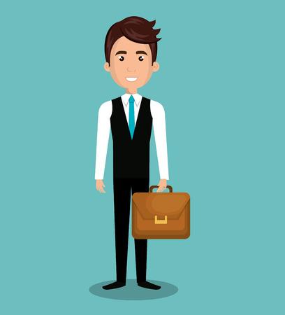 esp: cartoon man executive business briefcase isolated vectorillustration esp 10