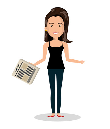 woman cartoon news read isolated vector illustration Illustration