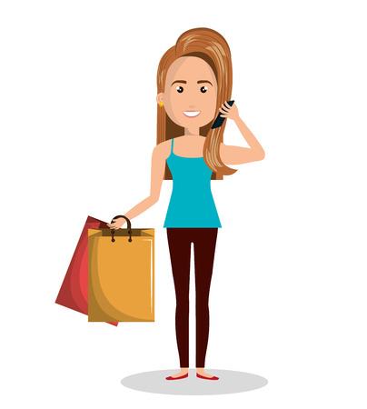 woman holding bag: woman cartoon holding bag gift isolated vector illustration Illustration