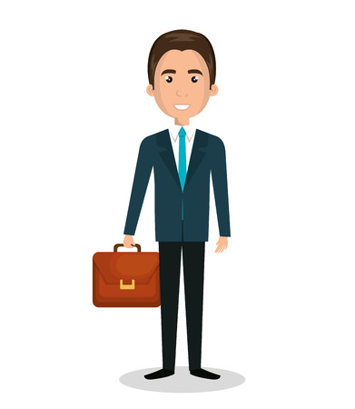 esp: cartoon man executive business briefcase isolated vectorillustration esp 10