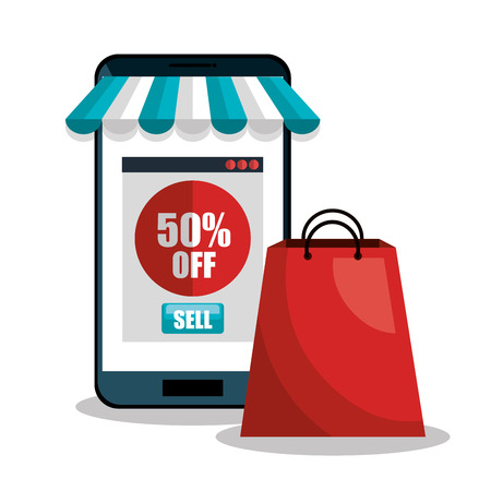 e-commerce smartphone discount buy isolated vector illustration Vetores
