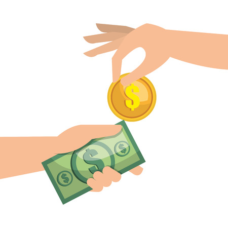 hand money currency cash isolated vector illustration