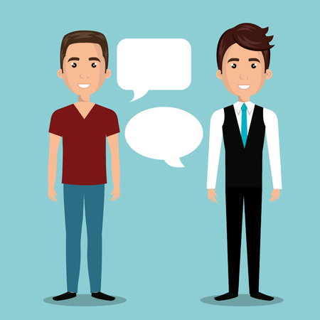 men talking dialogue isolated vector illustration