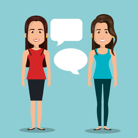 women talking dialogue isolated vector illustration Illustration