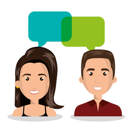 man woman talking bubble dialogue isolated vector illustration