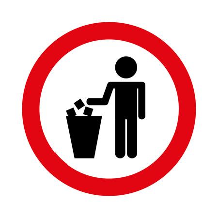 botar basura: se�al de tr�fico de tirar basura c�rculo ilustraci�n vectorial de dise�o