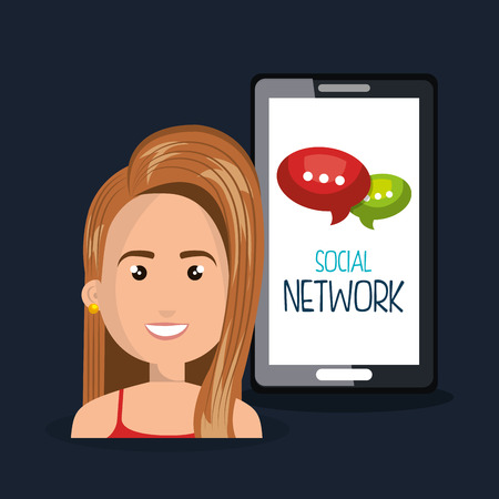 woman smartphone: woman smartphone network online isolated vector illustration