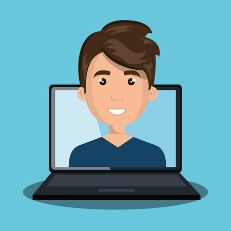 man with laptop: man laptop web online isolated vector illustration Illustration