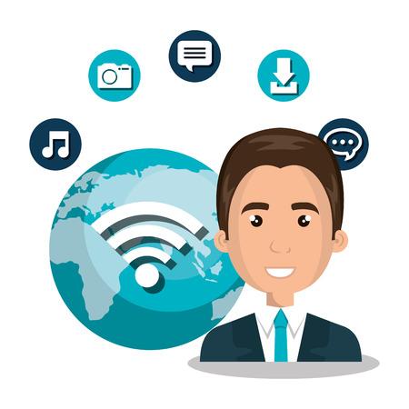 instant messaging: man wifi online isolated vector illustration Illustration
