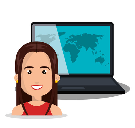 woman laptop: woman laptop globe online isolated vector illustration