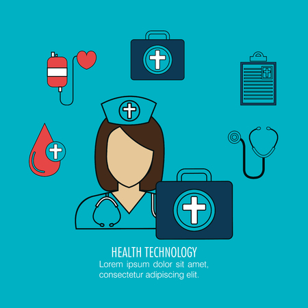 healthcare facilities: set nurse services medical isolated vector illustration