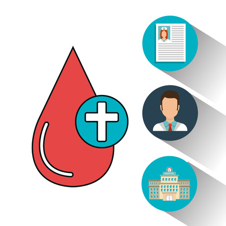 set blood drop services medical isolated vector illustration