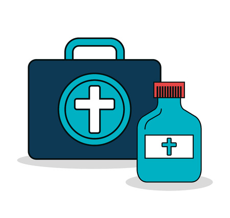 first aid kit: set first aid kit services medical isolated vector illustration