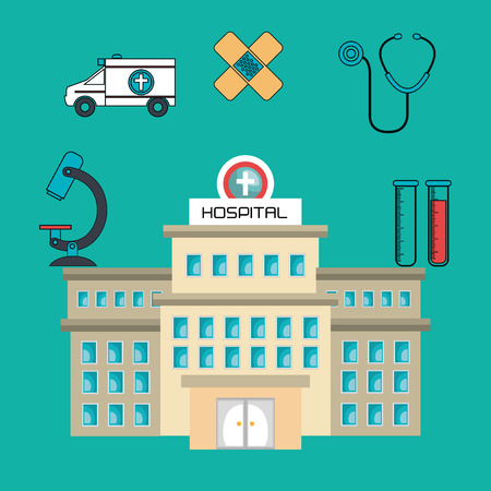 healthcare facilities: hospital building services medical isolated vector illustration