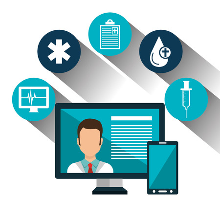 medical technology: set technology online services medical isolated vector illustration