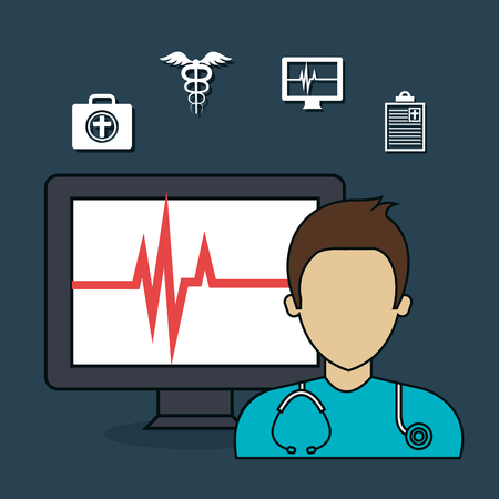 doctor with laptop: set doctor laptop services medical isolated vector illustration