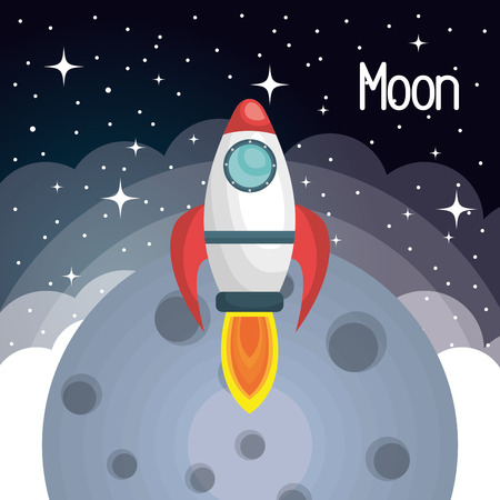 launch: rocket ship space launch isolated vector illustration