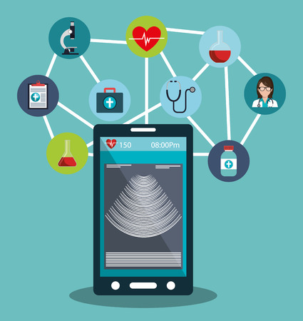 healthcare facilities: set smartphone services medical isolated vector illustration