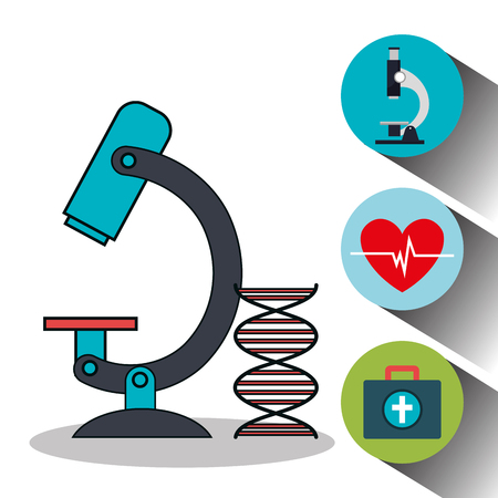 healthcare facilities: set microscope services medical isolated vector illustration