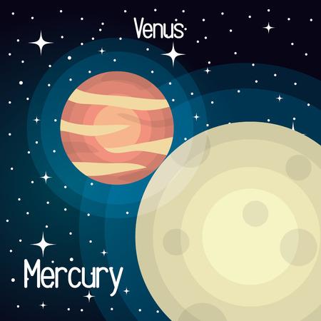 mercury: astronomy mercury system solar planets isolated vector illustration