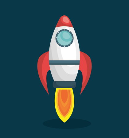 rocket ship space launch isolated vector illustration