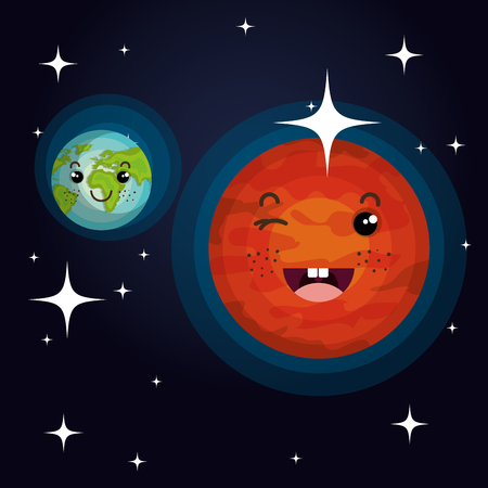 jupiter light: astronomy system solar planets isolated vector illustration