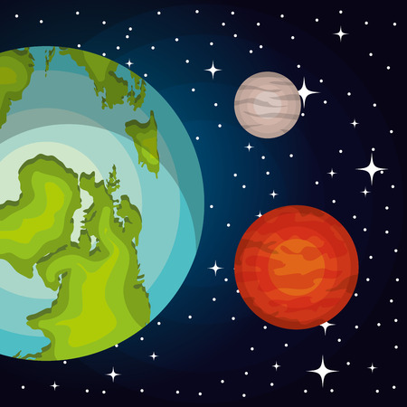 astronomy: astronomy system solar planets isolated vector illustration eps 10