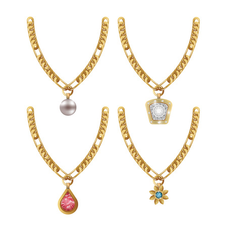 set necklace gems jewelry isolated vector illustration