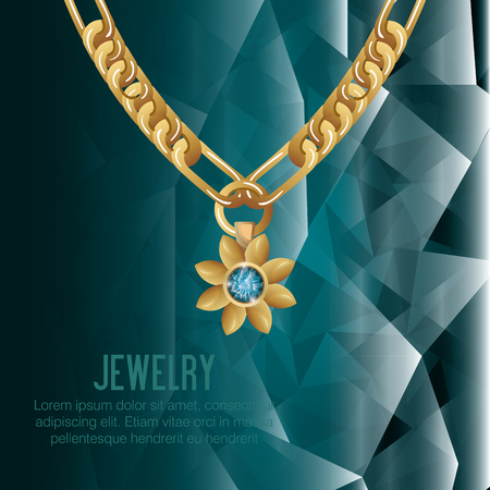gem: icon necklace gold gem isolated vector illustration