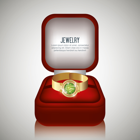 jewel box: ring in box gift isolated vector illustraion