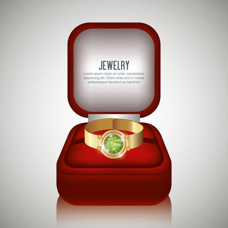 illustraion: ring in box gift isolated vector illustraion
