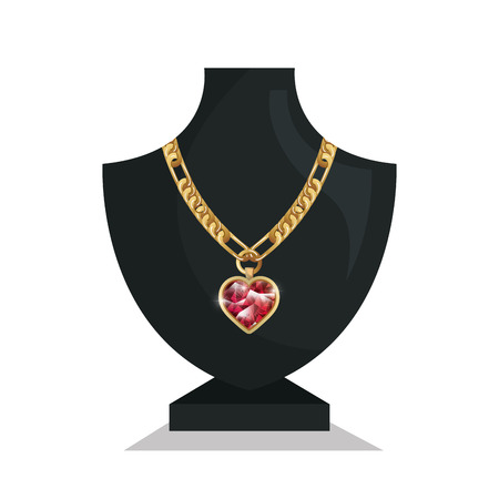 ladies bust: icon mannequins jewelry necklace isolated vector illustration