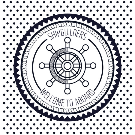 navigating: icon nautical timon boat label isolated vector illustration Illustration