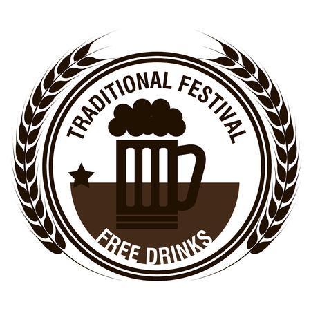 beer stein: oktoberfest beer festival isolated vector illustration