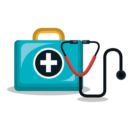 first aid kit stethoscope isolated vector illustration eps 10