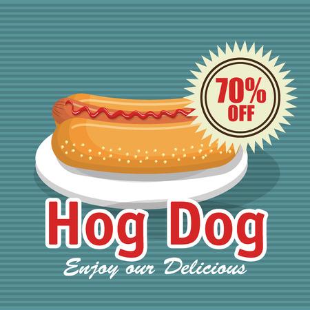 hog: fast food hog dog design isolated vector illustration eps 10